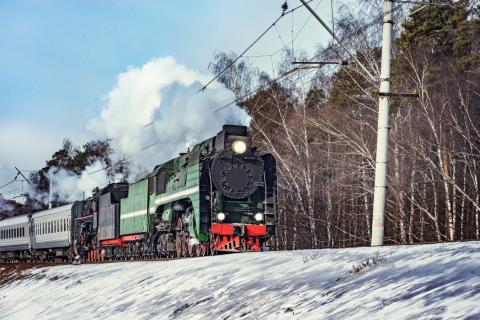 Tren nieve antiguo Moscú