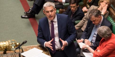 The UK Brexit secretary Steve Barclay speaks before a vote on the prime minister's proposed Brexit deal, 12 March, 2019.
