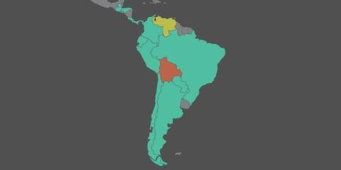 En verde, los países que han reconocido a Guaidó como presidente de Venezuela