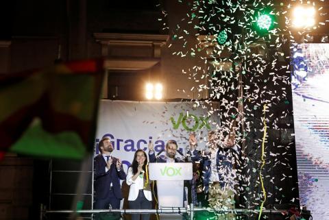 Santiago Abascal en su discurso tras las elecciones del 28 de Abril