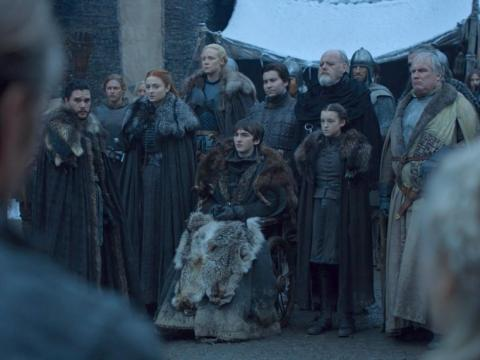 The Winterfell welcome party is also drastically different all these years later.