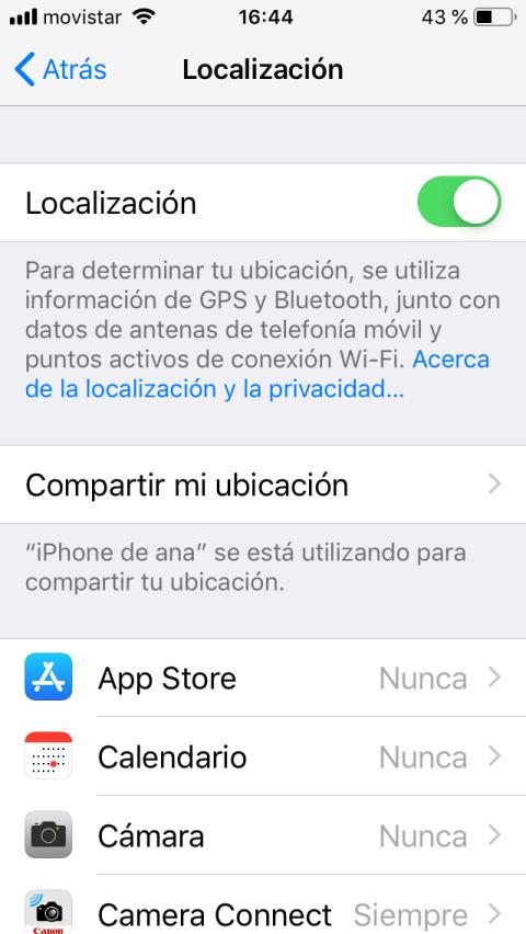 Ahorrar batería en el iPhone: Ubicación