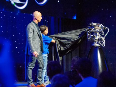 Although the lander was a model, Bezos did unveil an actual rocket engine, called BE-7, which is designed to power Blue Moon landers.