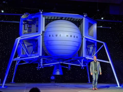 Bezos added that Blue Origin has a three-year head-start on a lunar lander and could meet NASA's desire to send astronauts back to the moon by 2024.