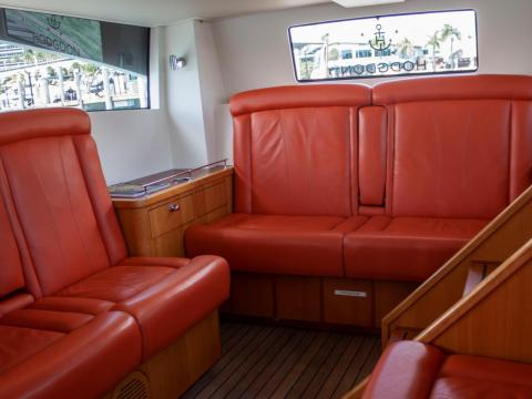 The boat was small yet luxurious, with 11 leather seats in an enclosed interior.