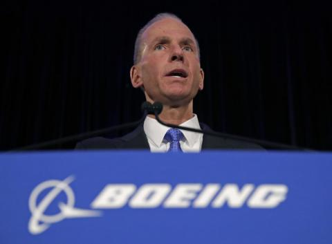 Boeing Chief Executive Dennis Muilenburg speaks during a press conference after the annual shareholders meeting at the Field Museum on April 29, 2019 in Chicago, Illinois