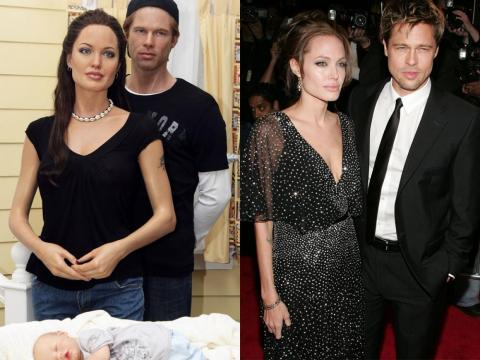 """A la izquierda están las figuras de cera de Shiloh Jolie-Pitt, Angelina Jolie y Brad Pitt. A la derecha están Jolie y Pitt en el estreno de """"El buen pastor"""" en diciembre de 2006."""