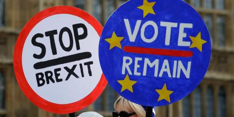 Brexit opponents near Parliament in London on Wednesday.
