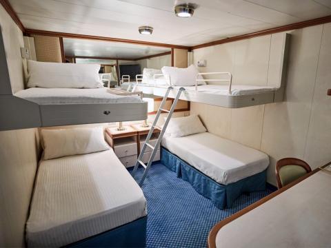 Una cabina de pasajeros del Caribbean Princess, de Princess Cruises.