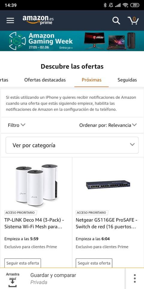 """Categoría """"Próximas"""" de """"Las ofertas del día"""" en Amazon"""