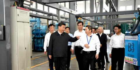 Chinese President Xi Jinping visiting JL MAG Rare-Earth Company's factory in Ganzhou, in eastern China, on May 20. That visit prompted speculation that Beijing would withhold rare-earth exports to the US in the trade war.