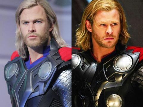 A la izquierda está la figura de cera. A la derecha está Hemsworth en acción como Thor en la película Marvel de 2011.