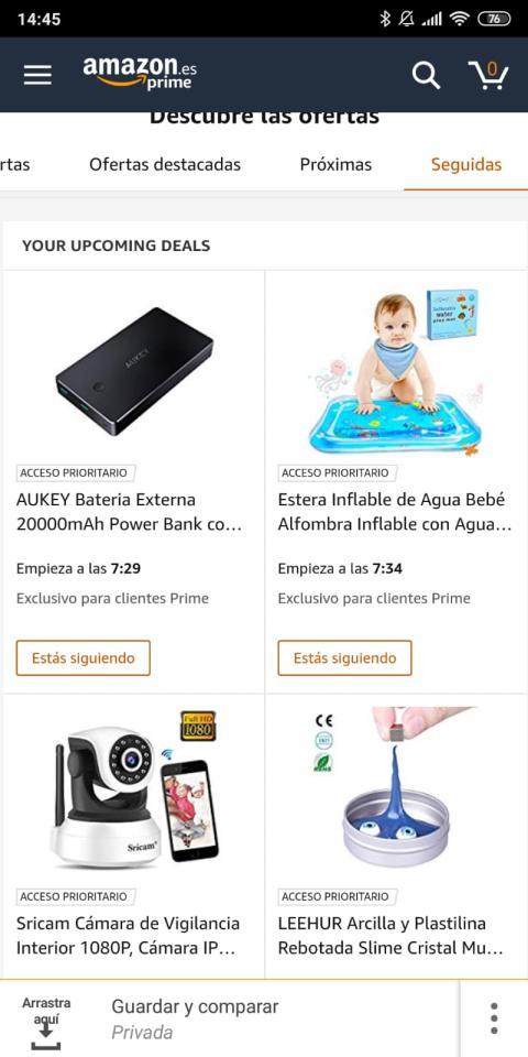 """Dale a """"Seguidas para ver tus ofertas en seguimiento en Amazon"""