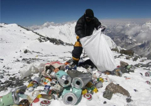 With the droves of climbers has come a flood of trash that litters the trails. A crew backed by the Nepal government removed several tons of garbage from the mountain earlier this spring.