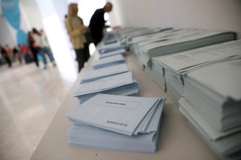 Papeletas de un colegio electoral en las elecciones del 26 de mayo de 2019.