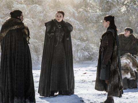 All the remaining Starks together in the godswood of Winterfell.