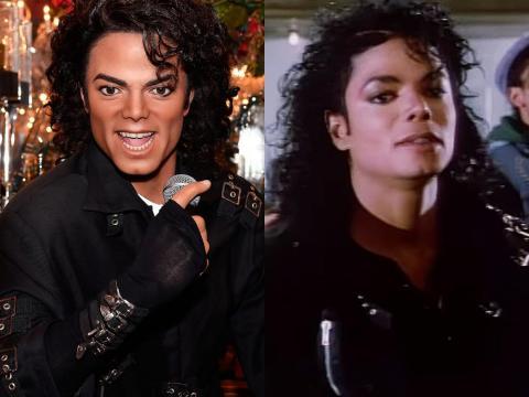 """A la izquierda está la figura de cera de Jackson, presentada en agosto de 2016. A la derecha está Jackson en el video musical de """"Bad""""."""