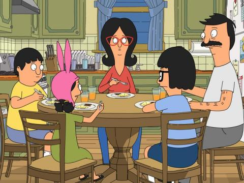 "The Belcher family on ""Bob's Burgers."""