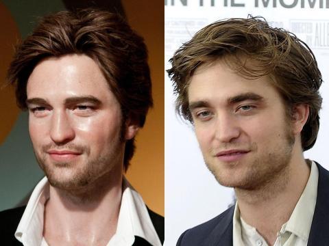 """A la izquierda está la figura de cera de Pattinson. A la derecha está Pattinson en el estreno en Nueva York de """"Recuérdame"""" en marzo de 2010."""