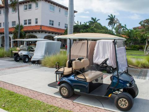 I was picked up in a golf cart, which is the preferred mode of transportation on the island.