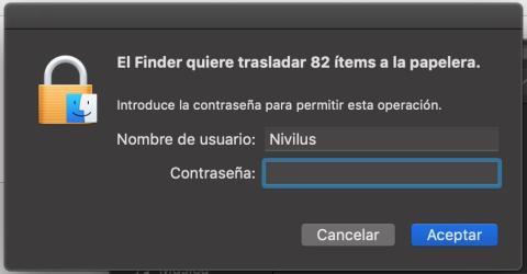 Introduce la contraseña de tu Mac para borrar los archivos