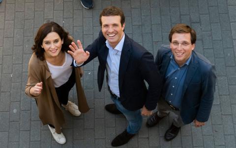 Isabel Díaz Ayuso, Pablo Casado y José Luis Martínez Almeida