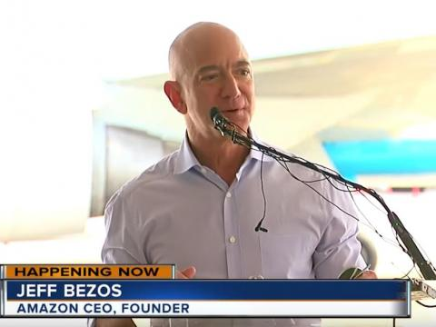 Jeff Bezos broke ground at the new Amazon airport site on Tuesday.