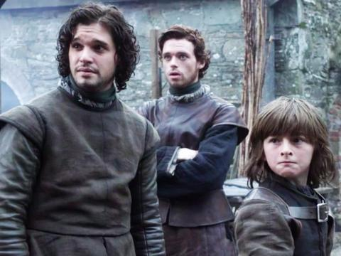 """Jon Snow, Robb Stark, and Bran Stark on the first episode of """"Game of Thrones."""""""