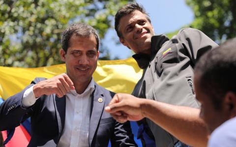Juan Guaidó y Leopoldo Lopez, este martes en Caracas, Venezuela.
