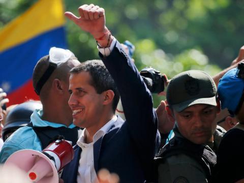 Juan Guaidó en la plaza de Altamira de Caracas, Venezuela.