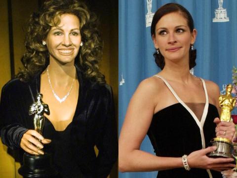 A la izquierda está la figura de cera de Roberts. A la derecha, Roberts con su Oscar en la ceremonia en marzo de 2001.
