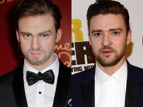 """A la izquierda está la figura de cera de Timberlake. A la derecha está Timberlake en el estreno de """"Runner Runner"""" en septiembre de 2013."""