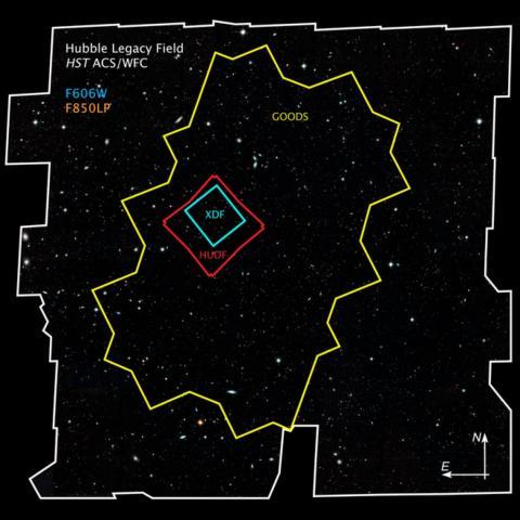"""Un mapa muestra las diferentes observaciones del Hubble (contornos coloreados) que conforman su imagen de """"campo profundo"""" (contorno blanco)."""