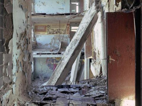Pasillo de colegio, Pripyat, 2006.