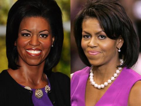 A la izquierda está la figura de cera. A la derecha está Michelle Obama en las primarias finales en junio de 2008.