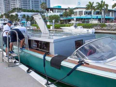 My journey started at the Miami Beach Marina, where a small private shuttle boat was waiting to take me to the island.