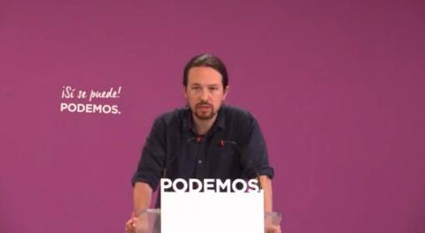 El líder de Podemos, Pablo Iglesias, en rueda de prensa el 27 de mayo de 2019.
