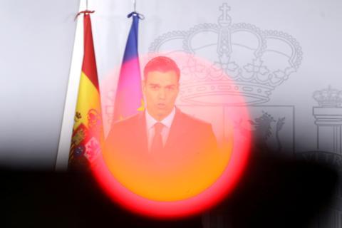 Pedro Sánchez, durante una rueda de prensa en La Moncloa