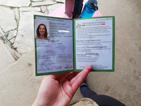 Pasado cierto punto te piden el permiso de trekking y la tarjeta TIMS para continuar.