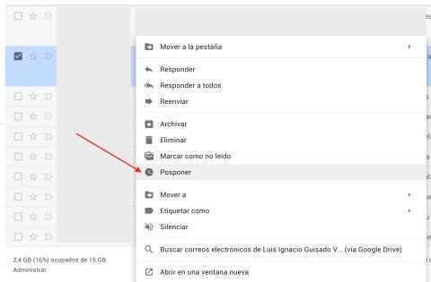 Posponer en Gmail
