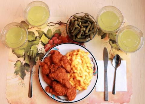 This processed dinner of prepared mac and cheese, chicken tenders and canned green beans had to be supplemented with tons of diet lemonade fortified with fiber in order to match the nutrient levels in an unprocessed meal.