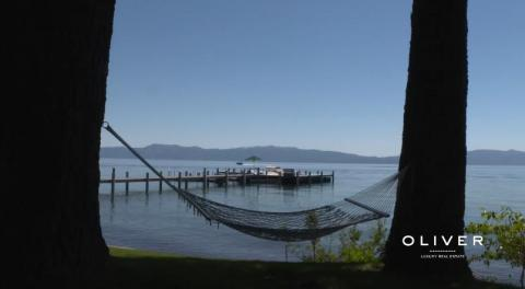 The property includes 200 feet of private waterfront on Lake Tahoe — and, a relaxing hammock for Mark and his wife Priscilla to enjoy.