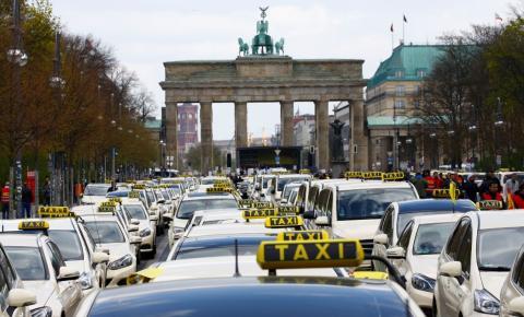 Una protesta de taxistas en Berlín.