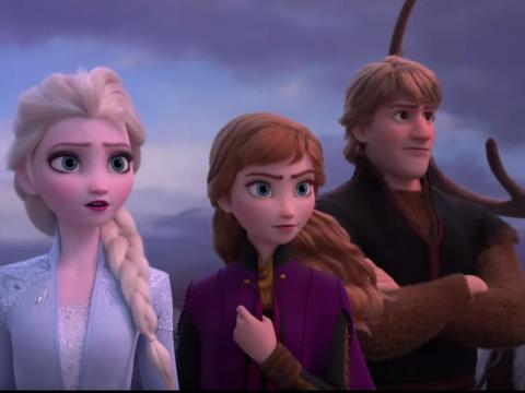 Queen Elsa, Anna, and Kristoff together.
