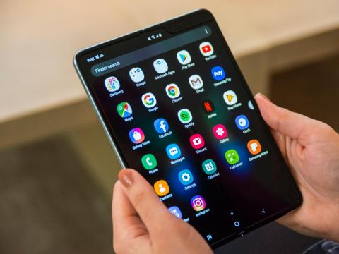 Samsung's Galaxy Fold contains a 7.3-inch tablet-sized display inside.