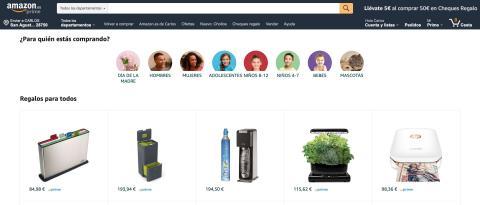 Sección buscador de regalos de Amazon