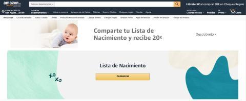 Sección Lista de nacimiento de Amazon