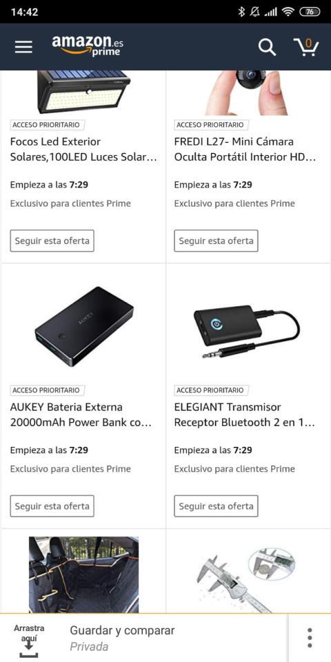 """Seguir oferta"" en Amazon"