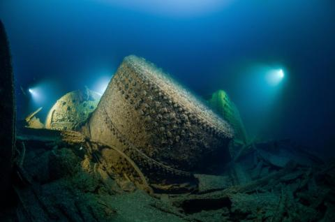 In this shot by Rene B. Andersen, you can see the steam boilers from the WWI ship HMS Viknor. The vessel is 282 feet deep in the Irish Sea.