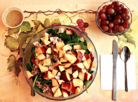 An unprocessed lunch on the menu was a spinach salad with chicken breast, apple slices, bulgur, sunflower seeds, and grapes. The salad was tossed with a vinaigrette made with olive oil, fresh-squeezed lemon juice, apple cider vinegar, ground mustard seed,
